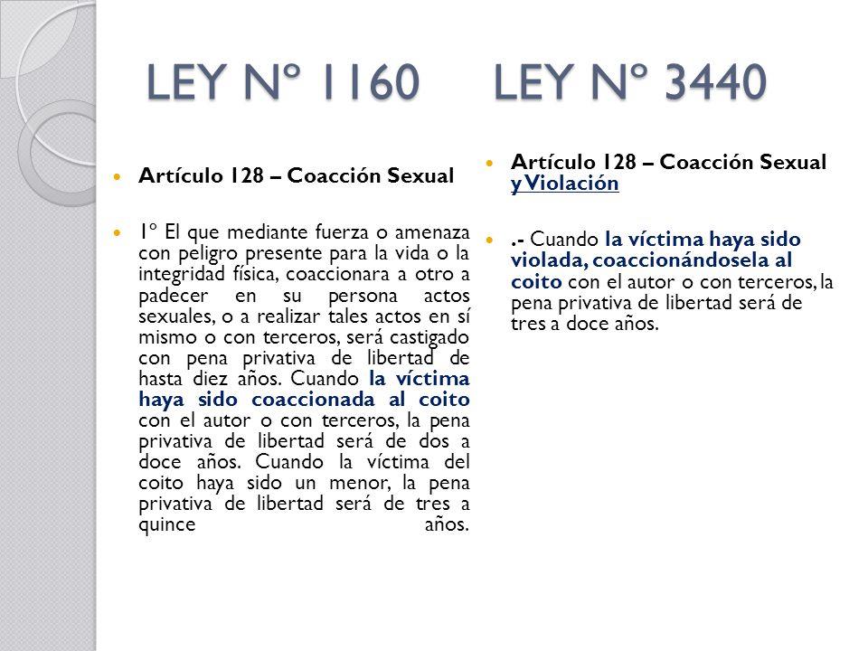 LEY Nº 1160 LEY Nº 3440 Artículo 128 – Coacción Sexual y Violación