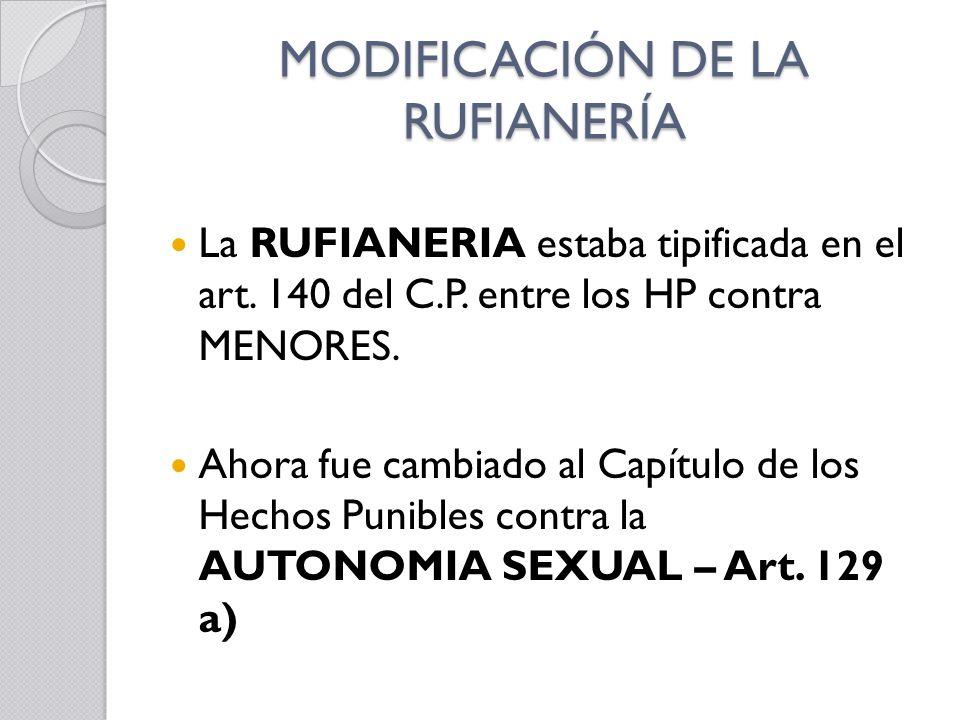 MODIFICACIÓN DE LA RUFIANERÍA