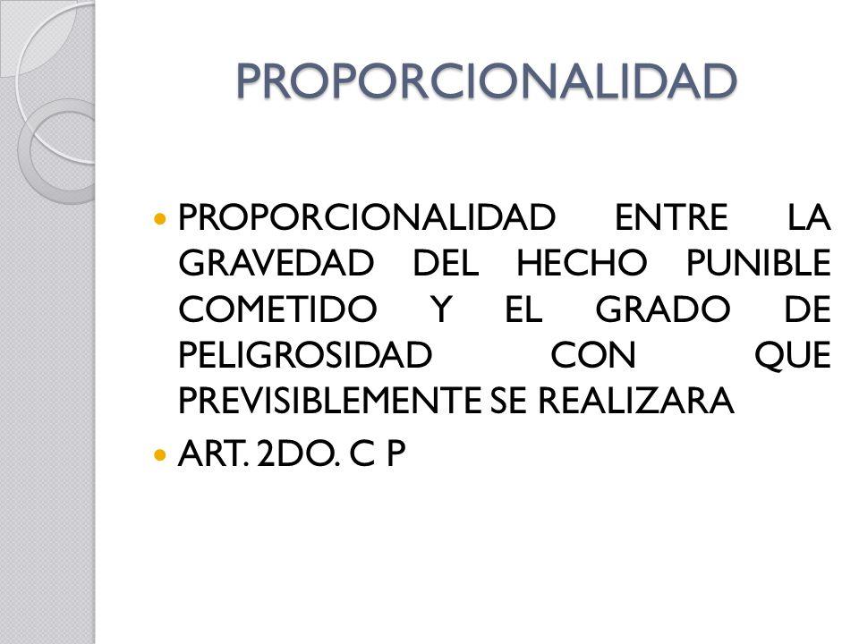 PROPORCIONALIDAD PROPORCIONALIDAD ENTRE LA GRAVEDAD DEL HECHO PUNIBLE COMETIDO Y EL GRADO DE PELIGROSIDAD CON QUE PREVISIBLEMENTE SE REALIZARA.