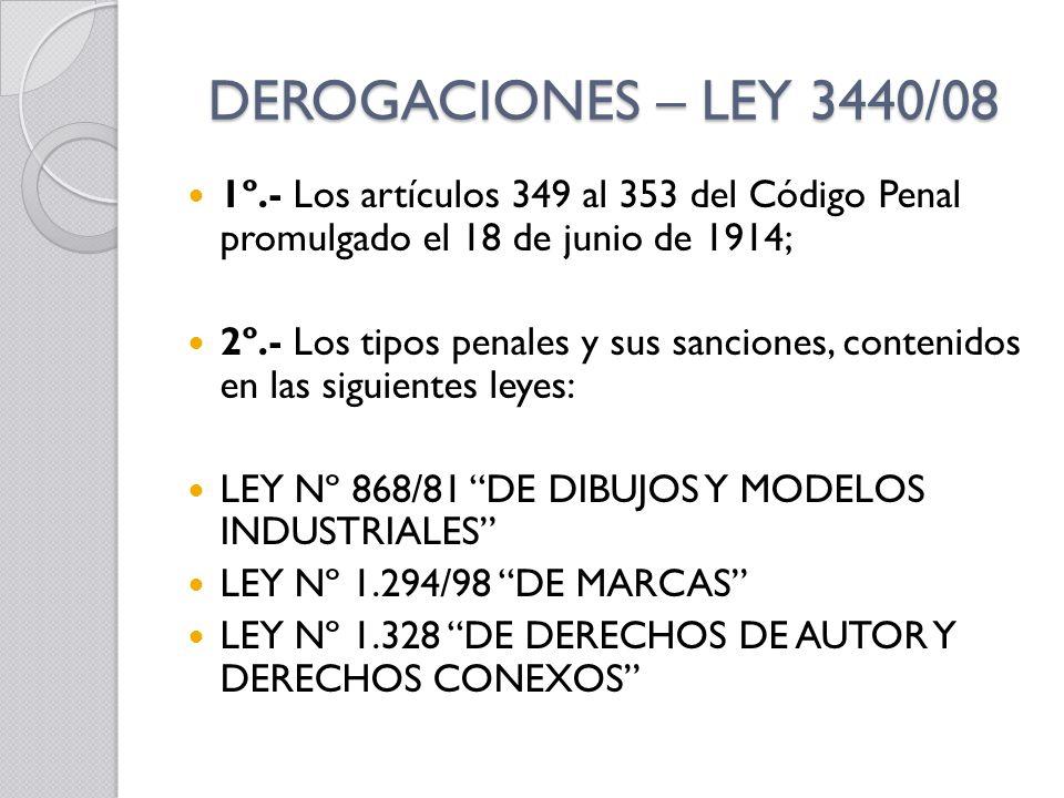 DEROGACIONES – LEY 3440/08 1º.- Los artículos 349 al 353 del Código Penal promulgado el 18 de junio de 1914;