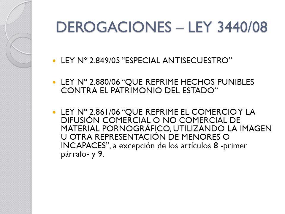 DEROGACIONES – LEY 3440/08 LEY Nº 2.849/05 ESPECIAL ANTISECUESTRO