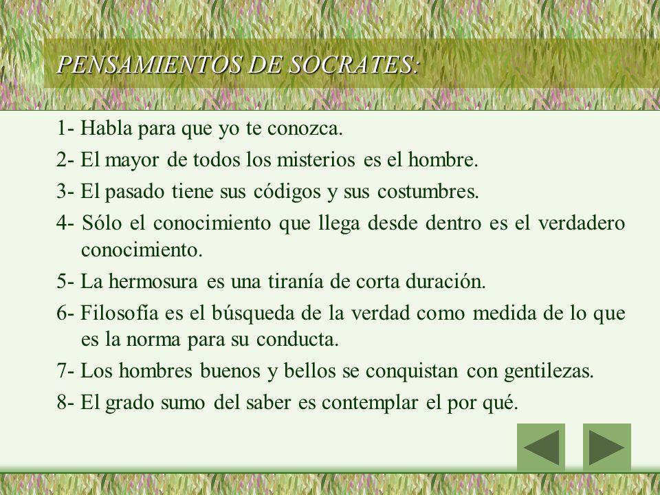 PENSAMIENTOS DE SOCRATES: