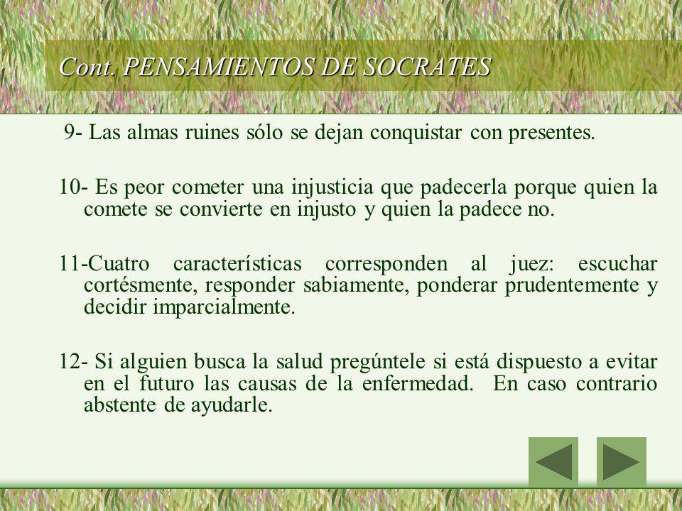 Cont. PENSAMIENTOS DE SOCRATES
