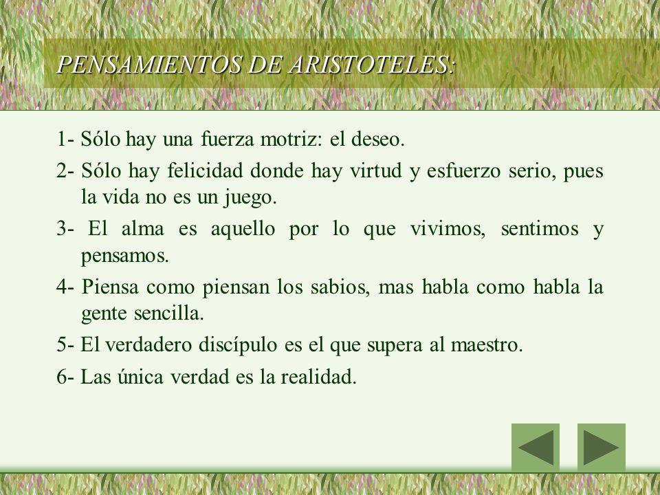 PENSAMIENTOS DE ARISTOTELES: