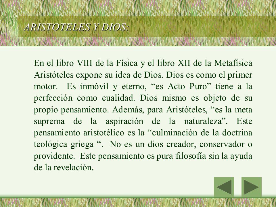 ARISTOTELES Y DIOS: