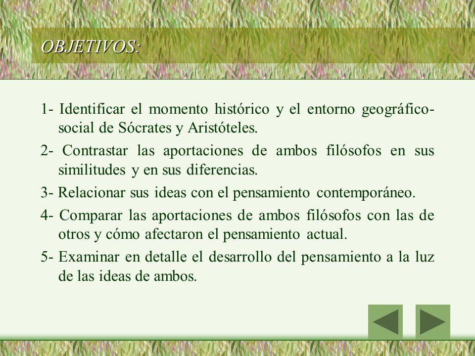 OBJETIVOS: 1- Identificar el momento histórico y el entorno geográfico-social de Sócrates y Aristóteles.