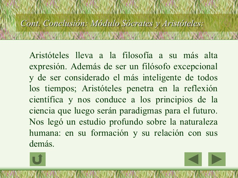 Cont. Conclusión: Módulo Sócrates y Aristóteles: