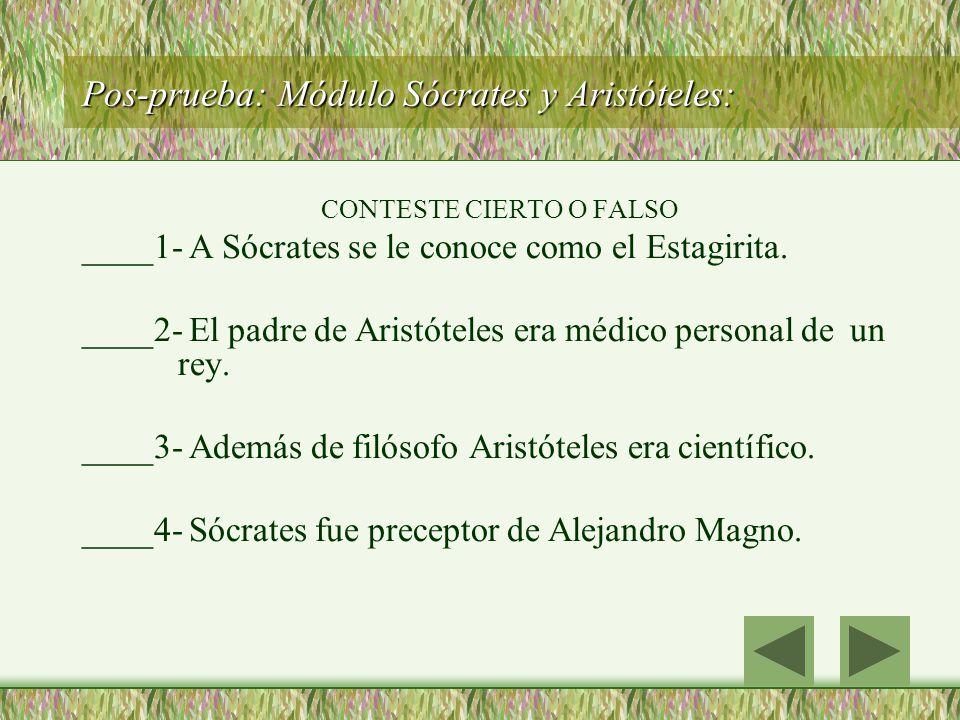 Pos-prueba: Módulo Sócrates y Aristóteles: