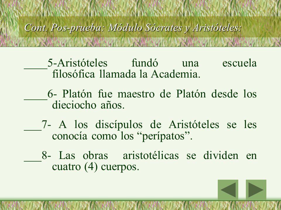 Cont. Pos-prueba: Módulo Sócrates y Aristóteles: