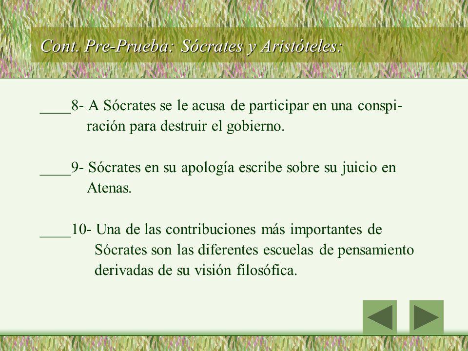 Cont. Pre-Prueba: Sócrates y Aristóteles:
