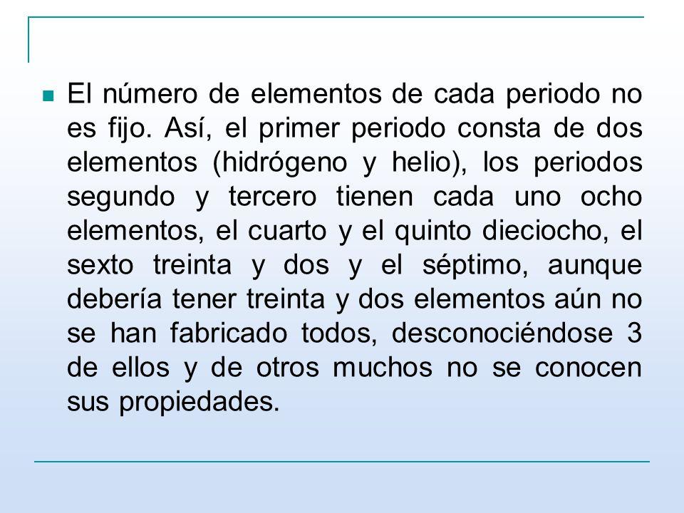 El número de elementos de cada periodo no es fijo