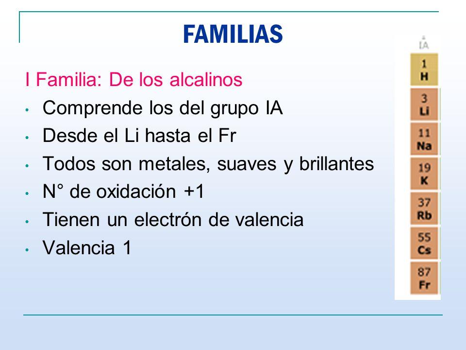 FAMILIAS I Familia: De los alcalinos Comprende los del grupo IA