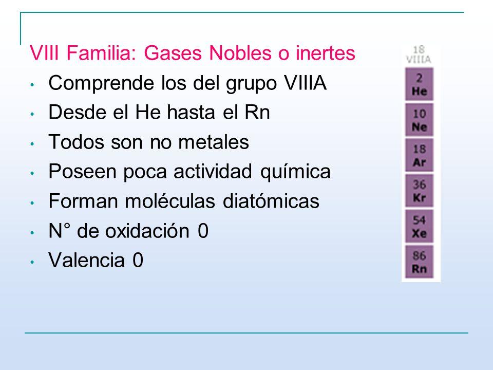 VIII Familia: Gases Nobles o inertes