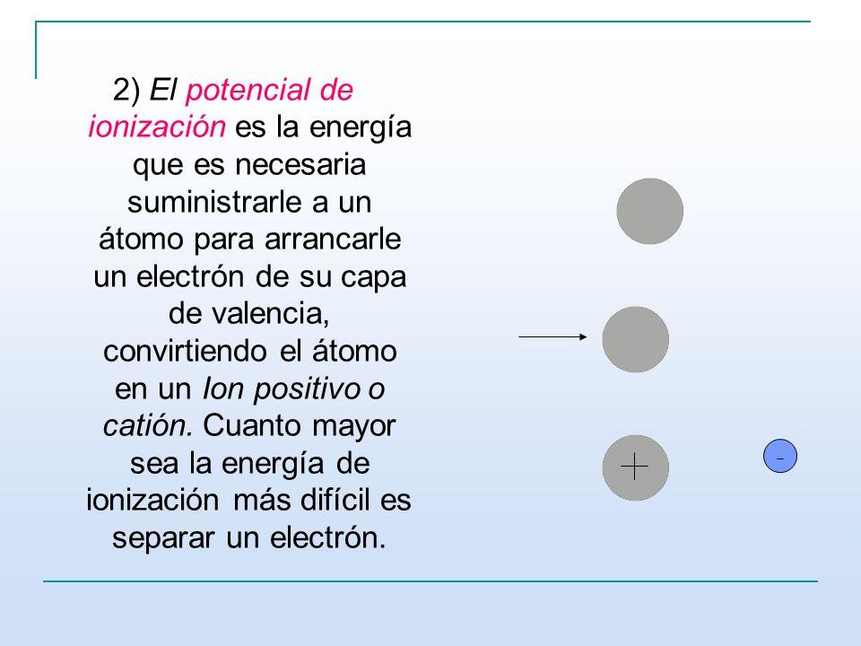2) El potencial de ionización es la energía que es necesaria suministrarle a un átomo para arrancarle un electrón de su capa de valencia, convirtiendo el átomo en un Ion positivo o catión.