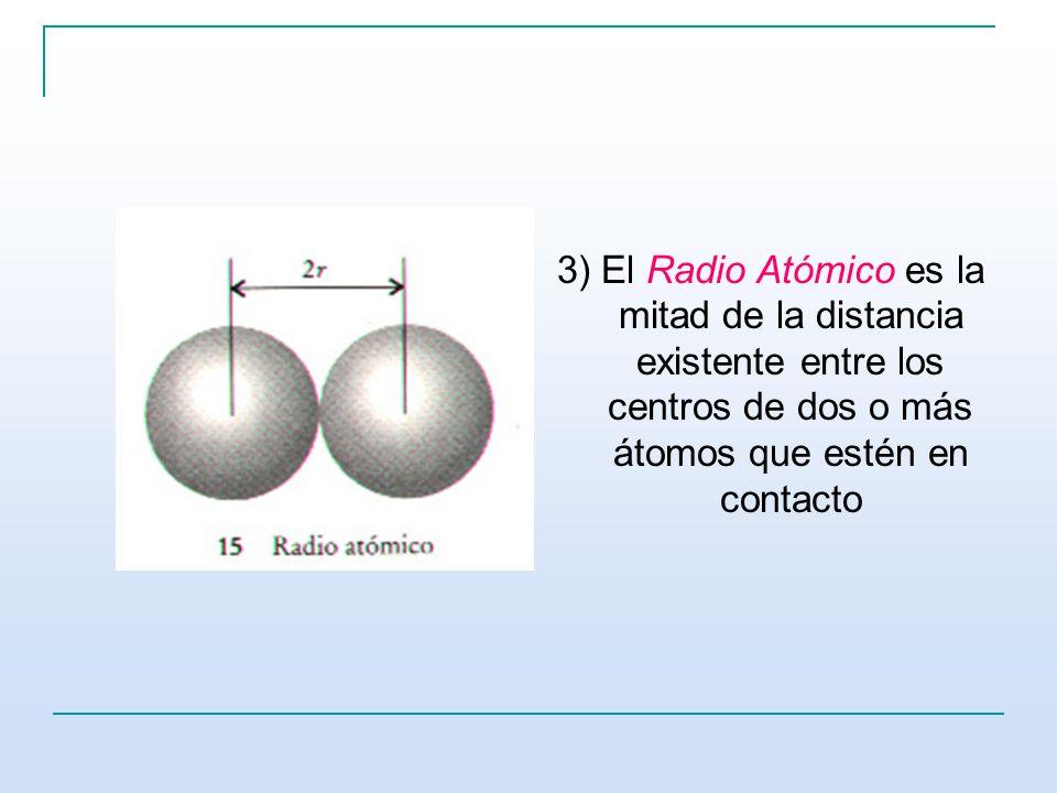 3) El Radio Atómico es la mitad de la distancia existente entre los centros de dos o más átomos que estén en contacto