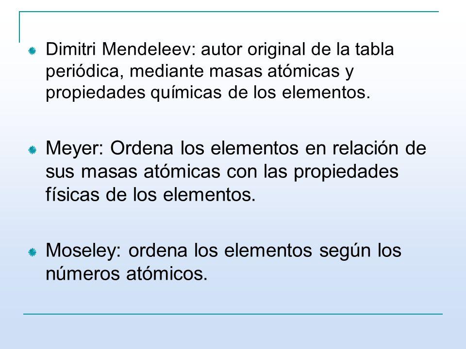 Moseley: ordena los elementos según los números atómicos.