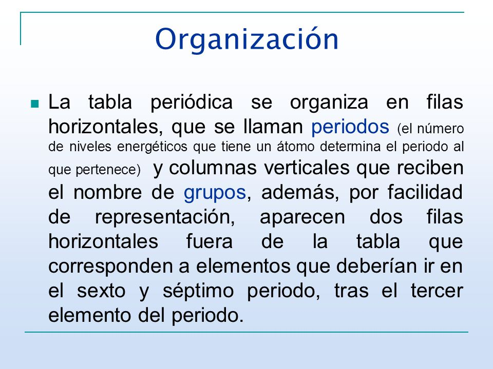 Tabla peridica y configuracin electrnica ppt video online 6 organizacin la tabla peridica urtaz Images