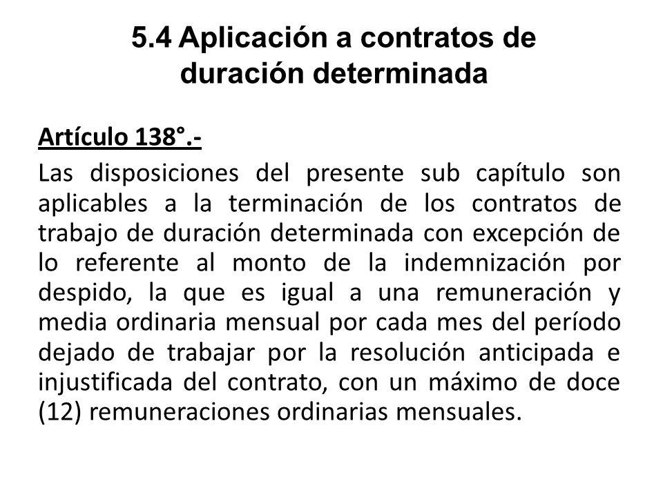 5.4 Aplicación a contratos de duración determinada