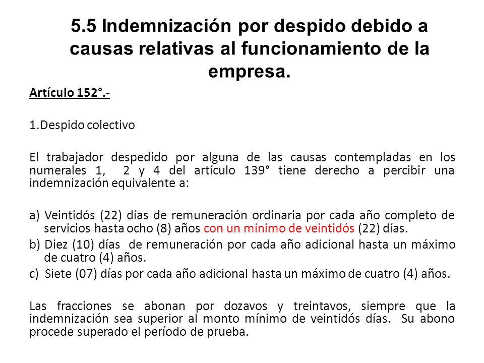 5.5 Indemnización por despido debido a causas relativas al funcionamiento de la empresa.