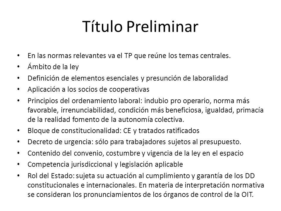 Título Preliminar En las normas relevantes va el TP que reúne los temas centrales. Ámbito de la ley.