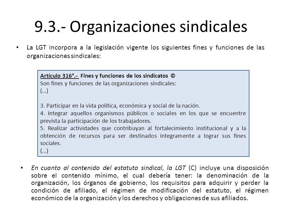 9.3.- Organizaciones sindicales