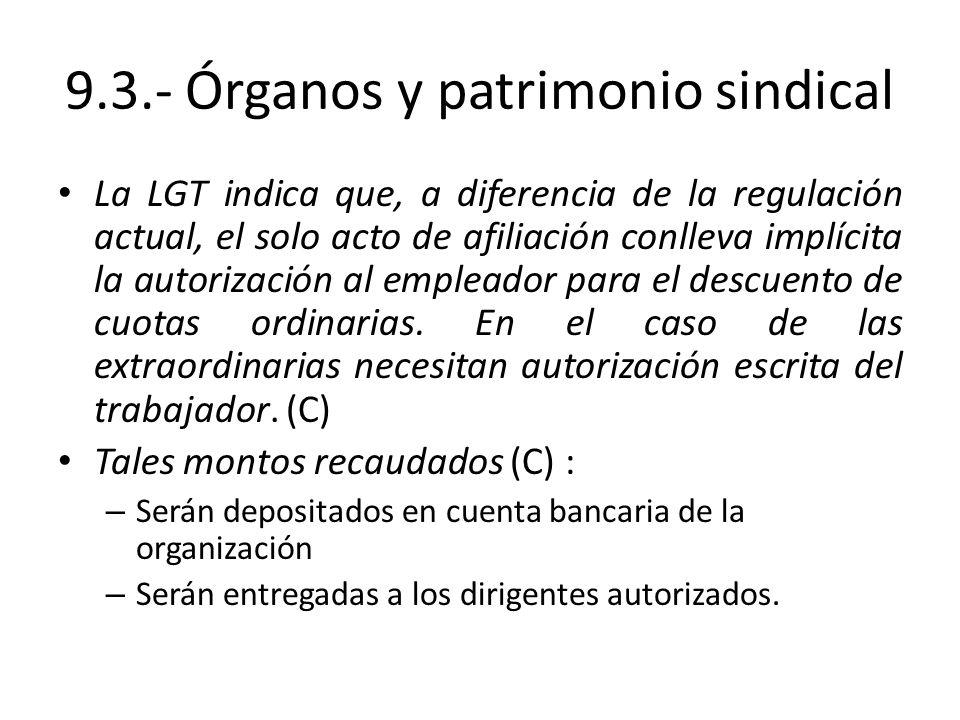 9.3.- Órganos y patrimonio sindical