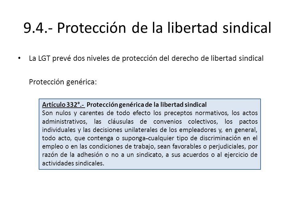 9.4.- Protección de la libertad sindical