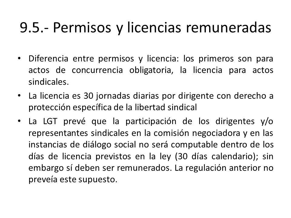 9.5.- Permisos y licencias remuneradas