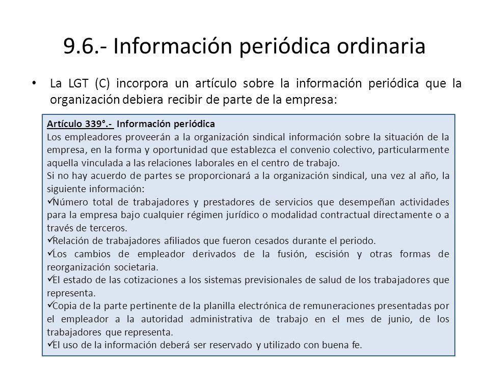 9.6.- Información periódica ordinaria