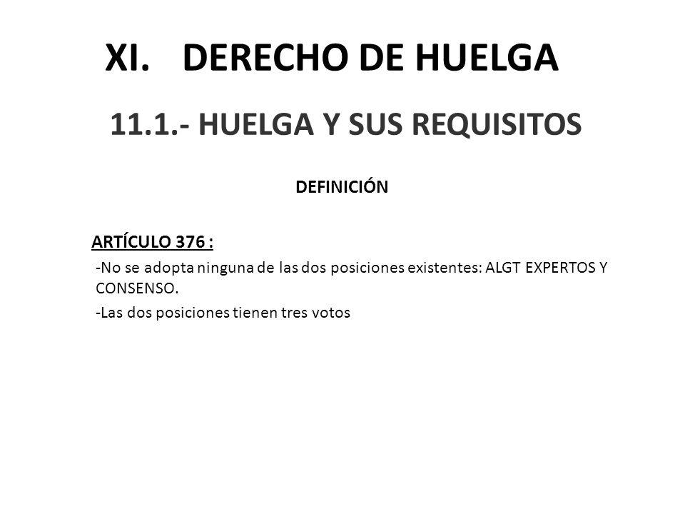 11.1.- HUELGA Y SUS REQUISITOS
