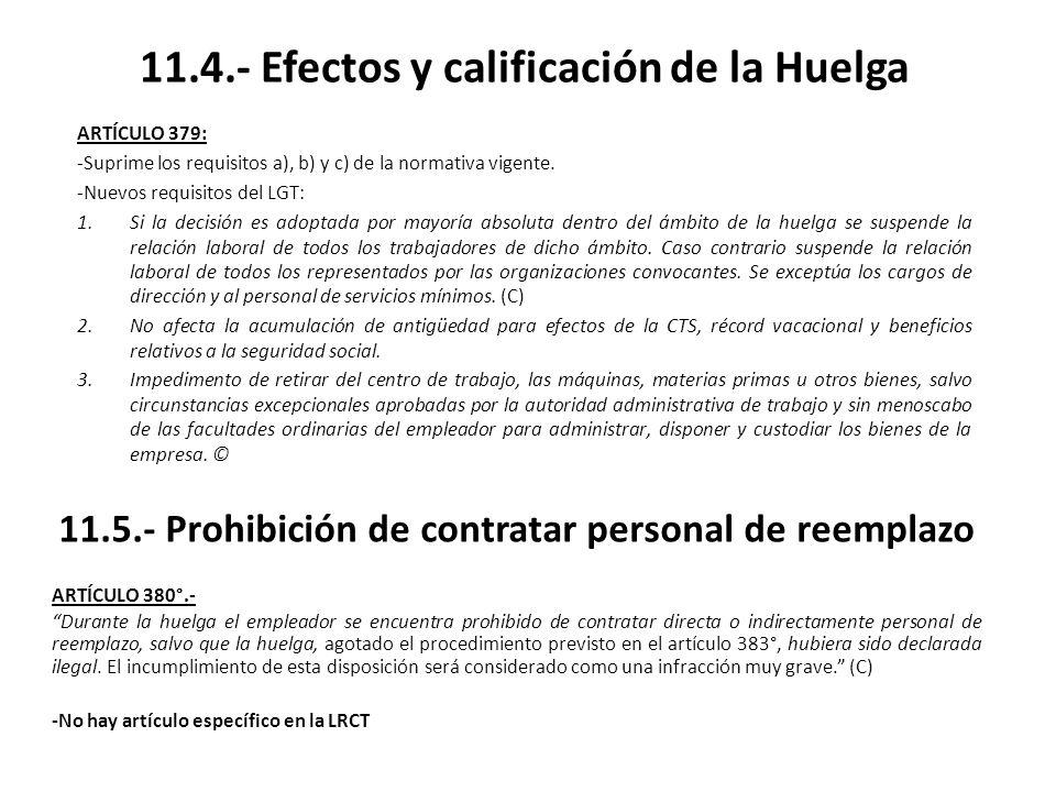 11.4.- Efectos y calificación de la Huelga