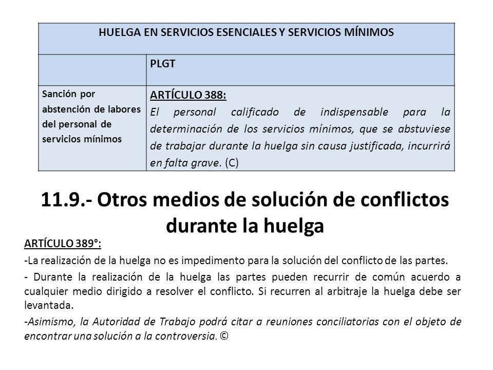 11.9.- Otros medios de solución de conflictos durante la huelga