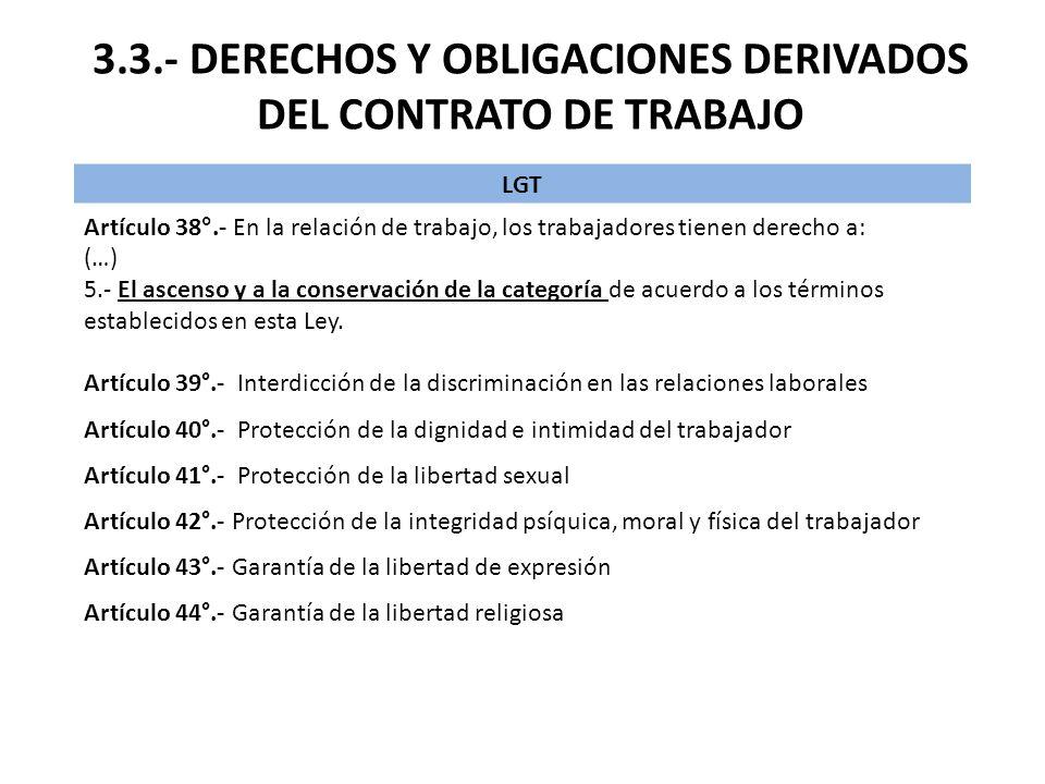 3.3.- DERECHOS Y OBLIGACIONES DERIVADOS DEL CONTRATO DE TRABAJO
