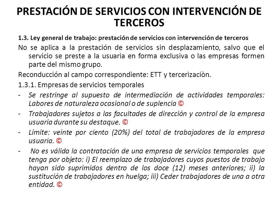 PRESTACIÓN DE SERVICIOS CON INTERVENCIÓN DE TERCEROS