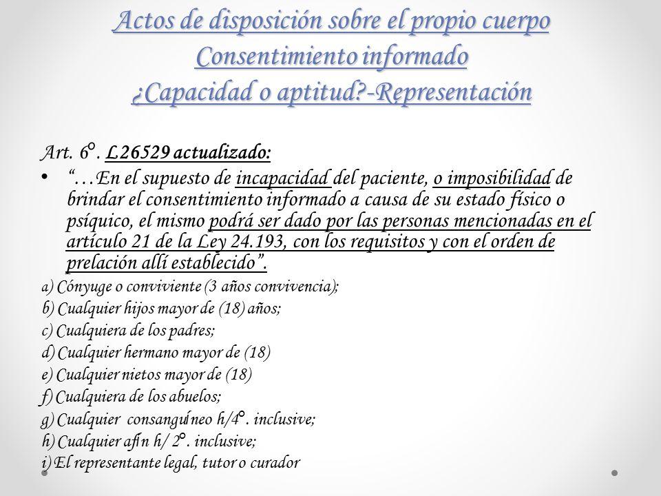 Actos de disposición sobre el propio cuerpo Consentimiento informado ¿Capacidad o aptitud -Representación