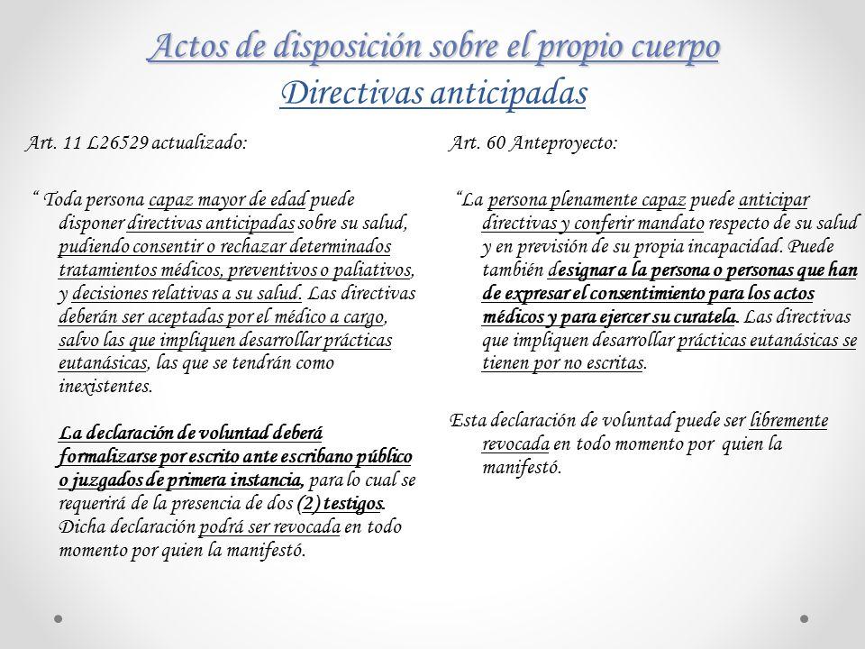 Actos de disposición sobre el propio cuerpo Directivas anticipadas