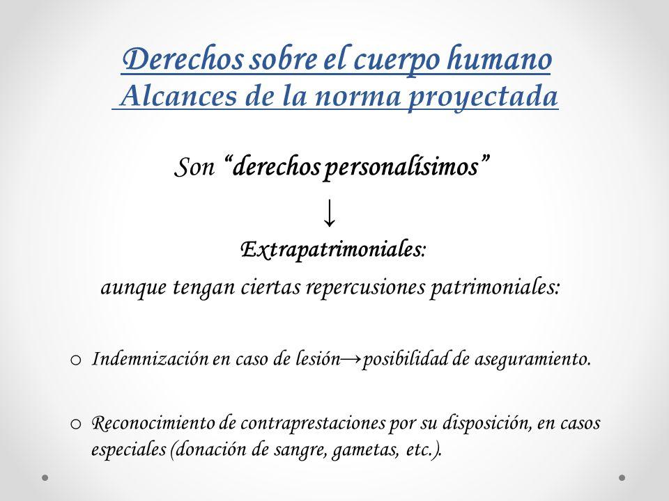 Derechos sobre el cuerpo humano Alcances de la norma proyectada