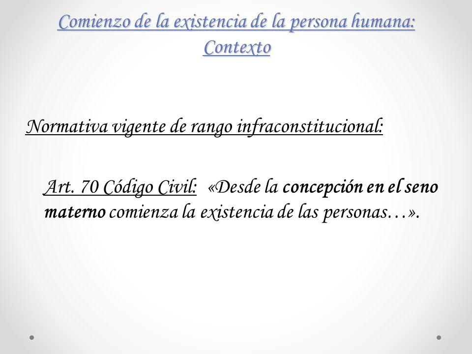 Comienzo de la existencia de la persona humana: Contexto