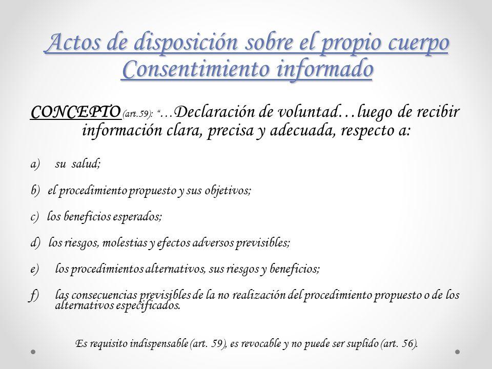 Actos de disposición sobre el propio cuerpo Consentimiento informado