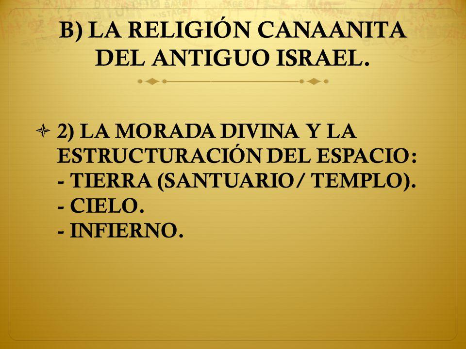 B) LA RELIGIÓN CANAANITA DEL ANTIGUO ISRAEL.