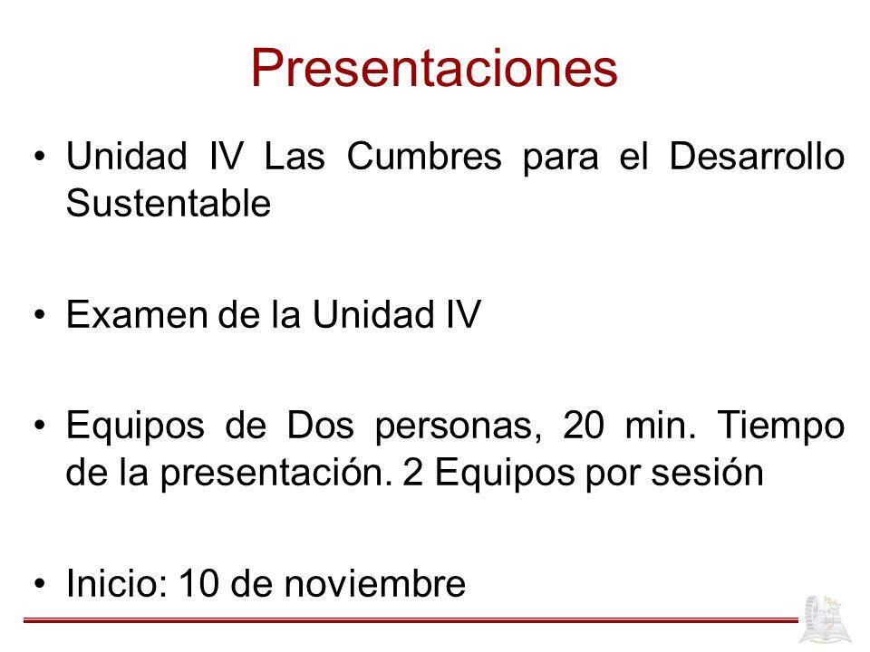 Presentaciones Unidad IV Las Cumbres para el Desarrollo Sustentable