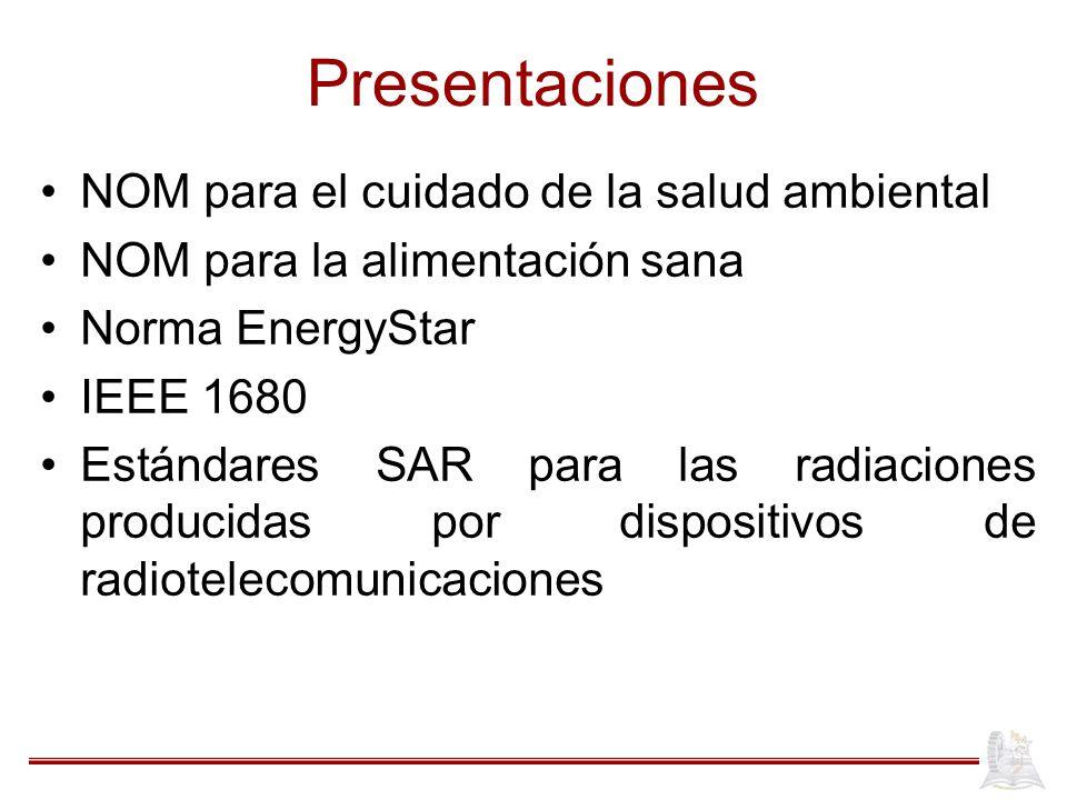 Presentaciones NOM para el cuidado de la salud ambiental