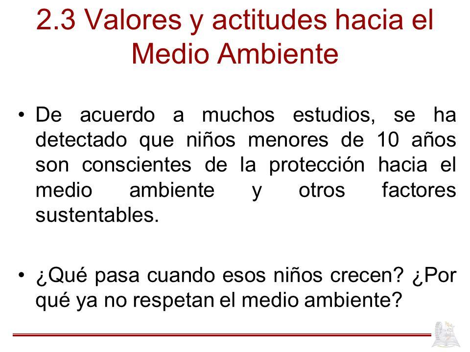 2.3 Valores y actitudes hacia el Medio Ambiente
