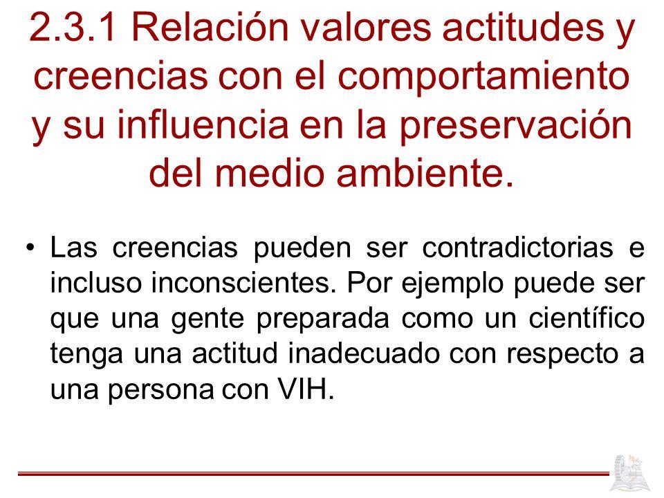 2.3.1 Relación valores actitudes y creencias con el comportamiento y su influencia en la preservación del medio ambiente.
