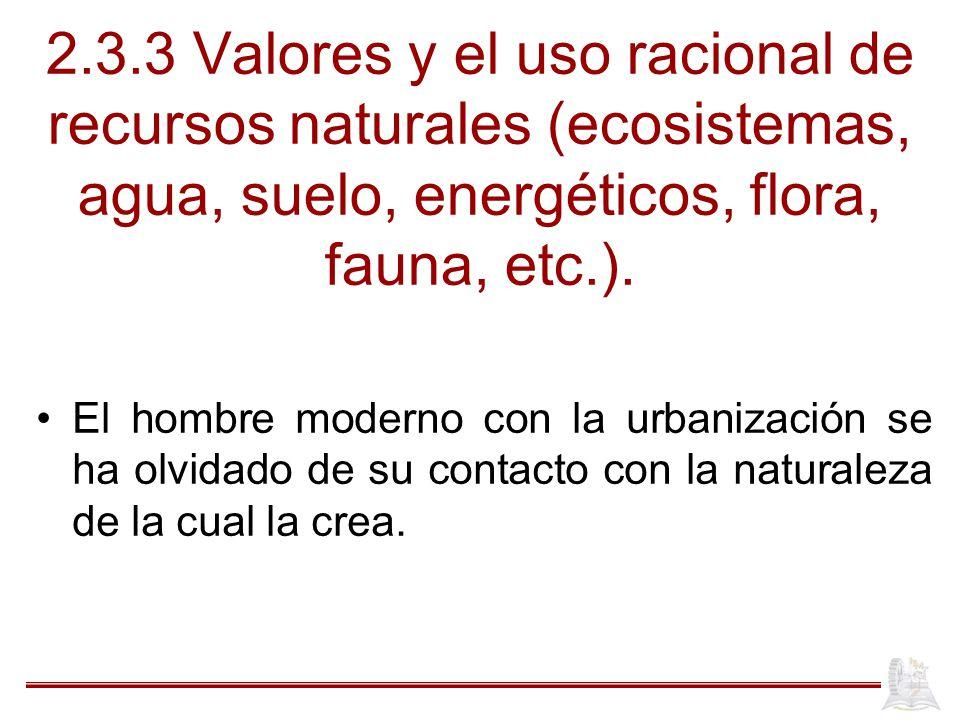 2.3.3 Valores y el uso racional de recursos naturales (ecosistemas, agua, suelo, energéticos, flora, fauna, etc.).