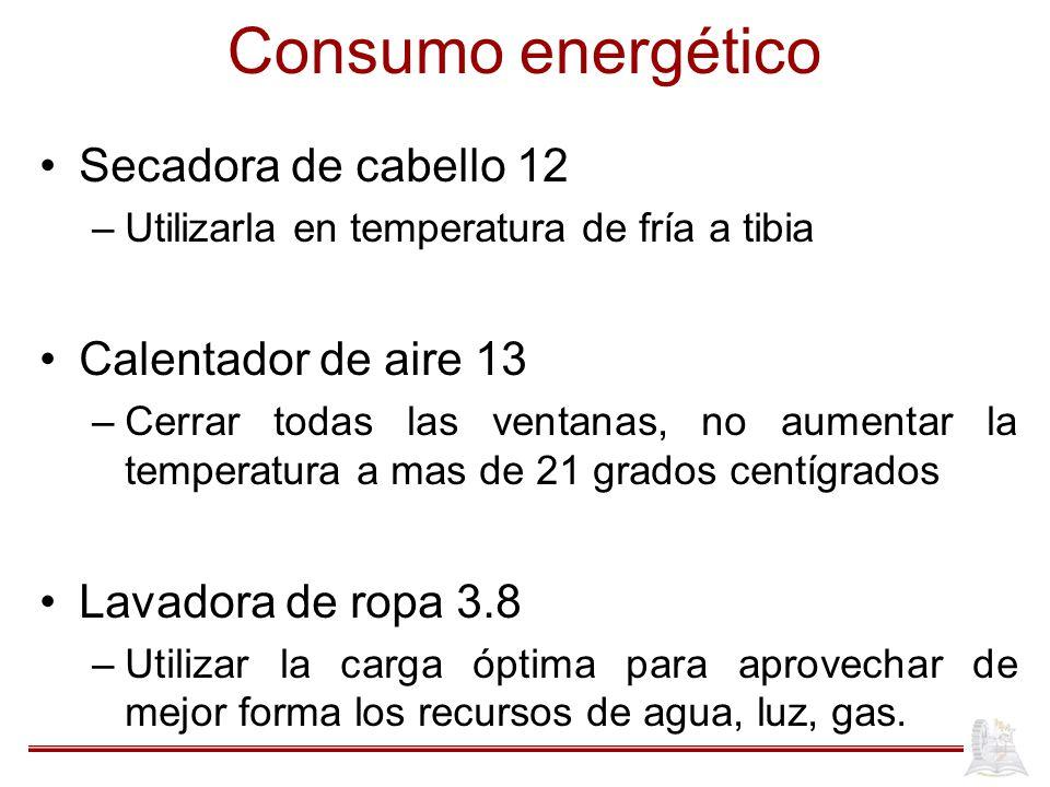 Consumo energético Secadora de cabello 12 Calentador de aire 13
