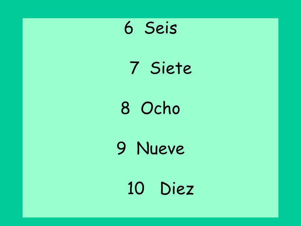 Seis 7 Siete Ocho 9 Nueve 10 Diez