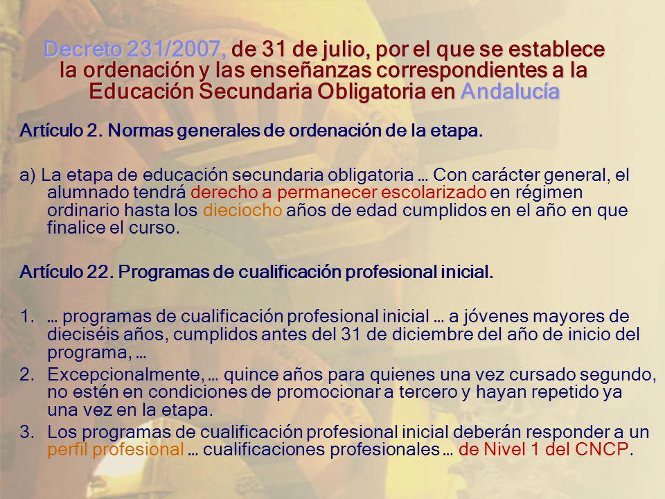 Decreto 231/2007, de 31 de julio, por el que se establece la ordenación y las enseñanzas correspondientes a la Educación Secundaria Obligatoria en Andalucía