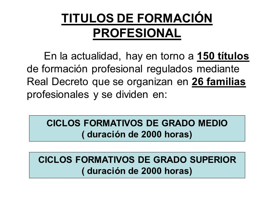 TITULOS DE FORMACIÓN PROFESIONAL