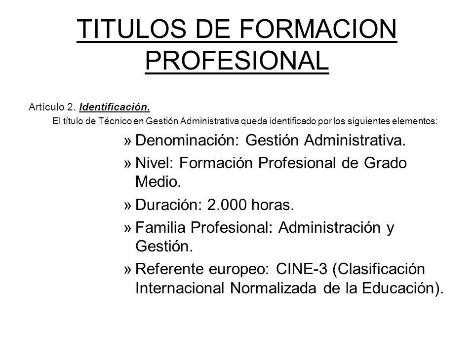TITULOS DE FORMACION PROFESIONAL